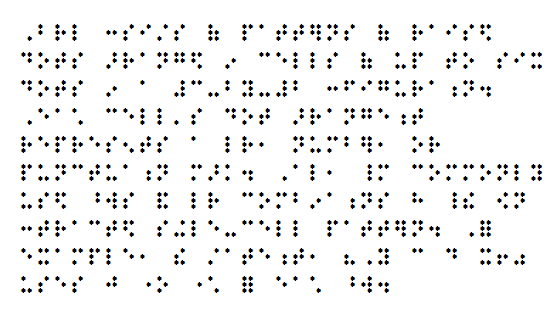 properly formatted braille