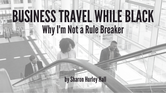 Woman on airport escalator: cover image for Business Travel While Black article