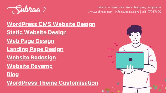 Summary of Web Design Services by Subraa, professional Web Designer in Singapore.