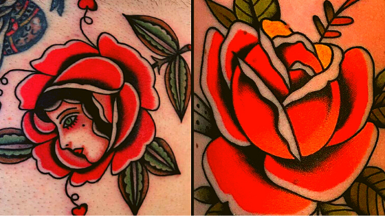 a picture of traditional red rose tattoos on someone's skin