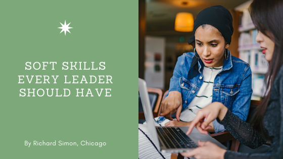 Soft Skills Every Leader Should Have by Rick Simon of Chicago. Picture: Two women working on a computer.