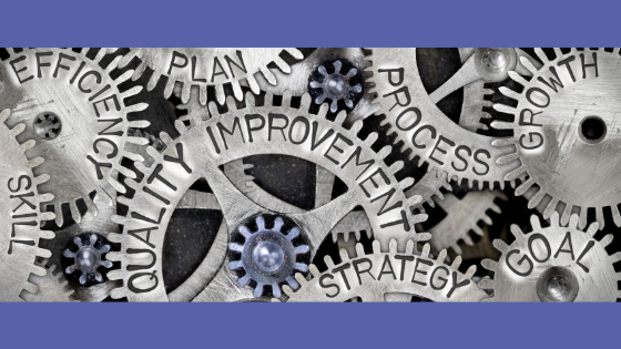 Gears that read: Efficiency, Plan, Quality Improvement, Process, Strategy, Goals, and Growth set on a lilac purple background
