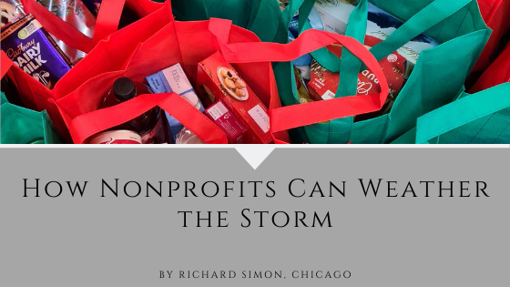 How Nonprofits Can Weather the Storm by Rick Simon of Chicago. Picture: Bags full of food.