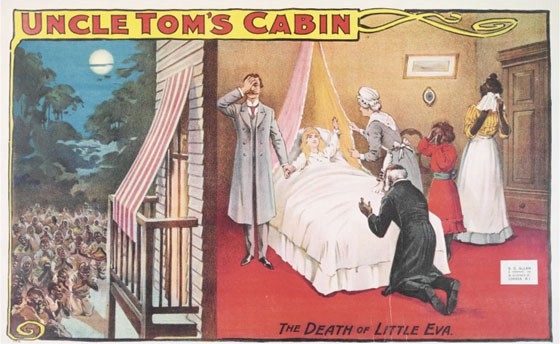 An image of Eva's deathbed scene in Uncle Tom's Cabin