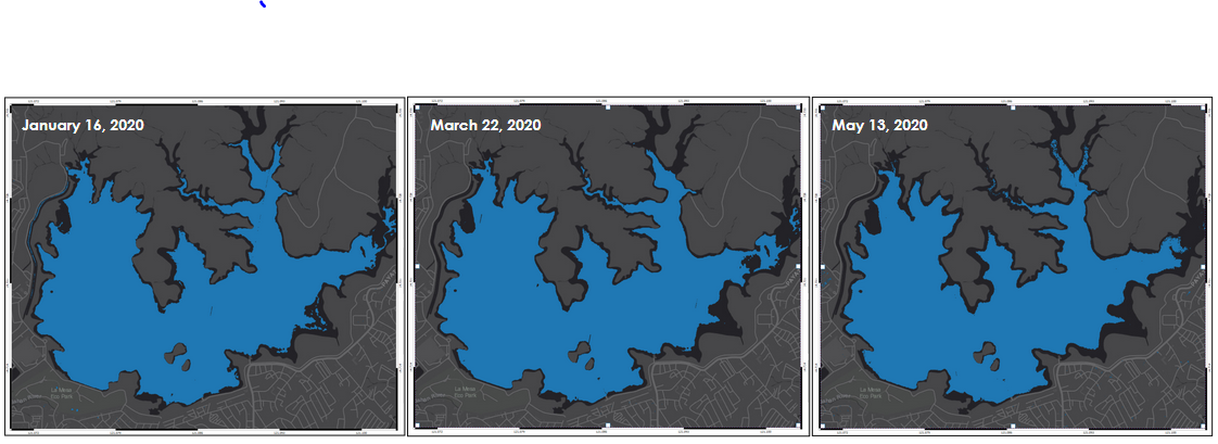 Figure 4. The blue parts depict the possible extent of water in La Mesa Dam in January, March, and May 2020 derived from Dove Satellite Images. [Source: Remote Sensing and Data Science (DATOS) Help Desk and Philippine Earth Data Resource and Observation (PEDRO) Center]