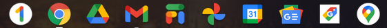 Screenshot of Chrome OS Shelf with Google Services App Icons
