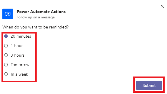 Microsoft Teams follow up on a message form