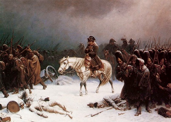 Napoleon on a white horse surrounded by foot soldiers tromping through snow as they flee Moscow.