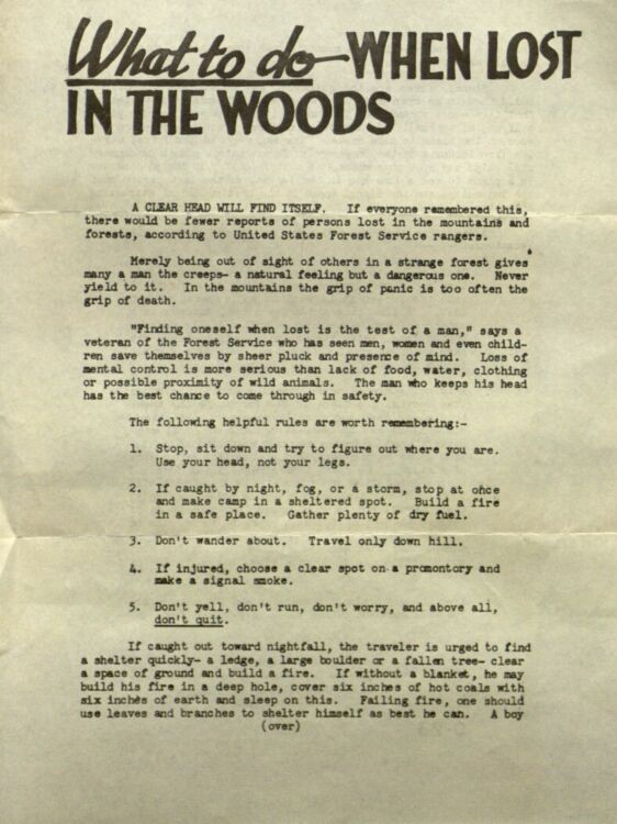 US Forest Service guide on what to do when seeking direction amidst uncertainty (aka lost in the woods)