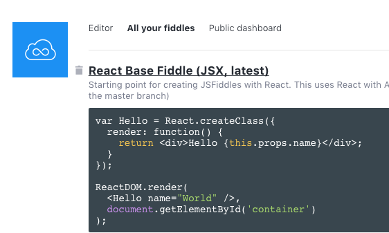 Cheatsheet: setting up React js playgrounds in Codepen and JSFiddle