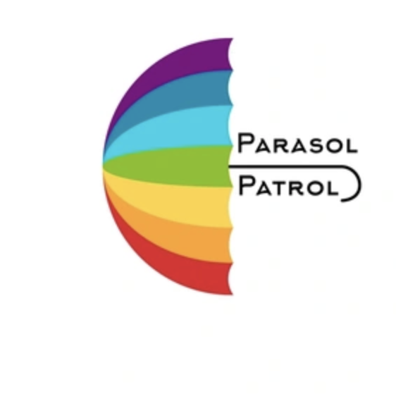 "A rainbow-colored umbrella with the name, ""Parasol Patrol"" straddling the umbrella handle."