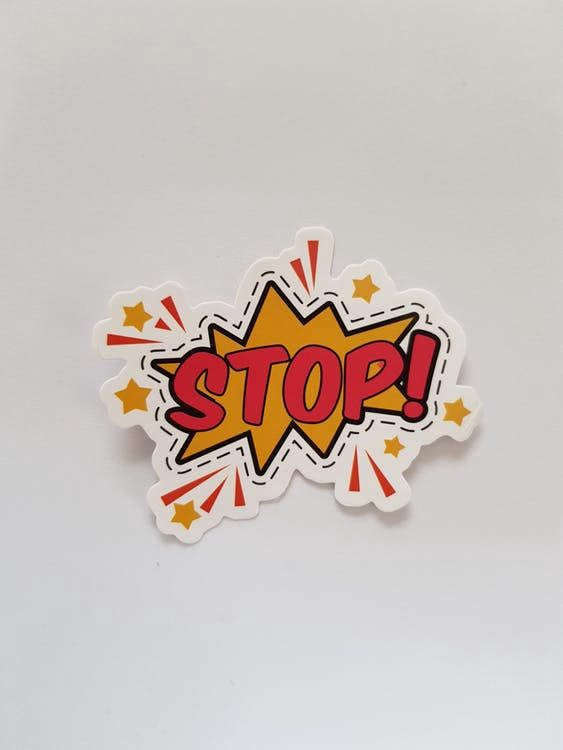 A comic style bang shape with the word 'STOP!' in the middle