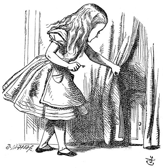 Alice finds a door behind the curtain