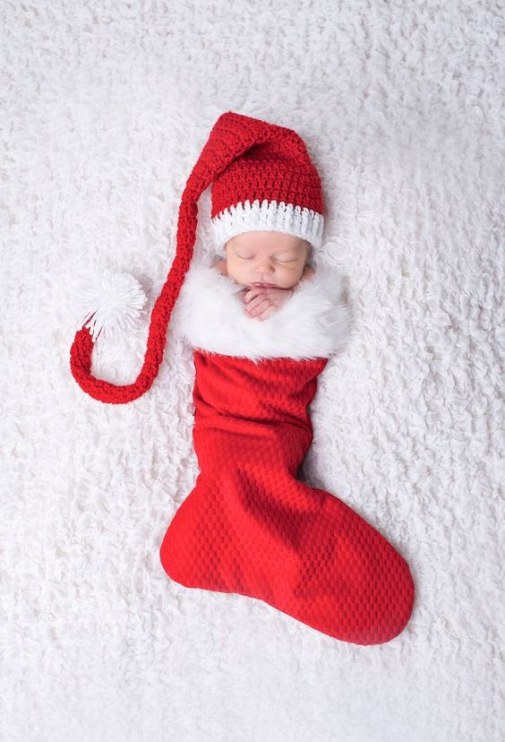 Sleeping Baby in a Stocking