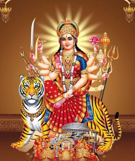 March comes in like a lion. Hindu Goddess Durga on her lion symbolizes March new beginnings