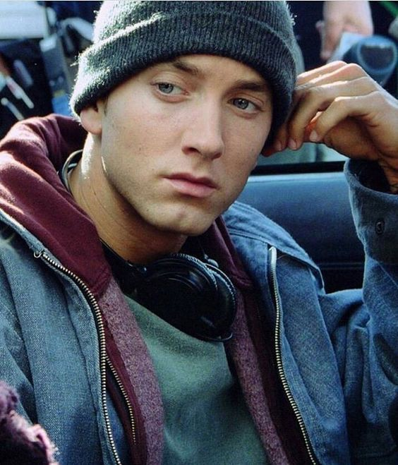 Eminem looking mean moody and hot back in his 8 Mile days