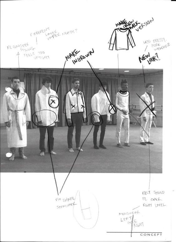 page from a sketch book with notes on design modifications drawn over a photograph of models wearing collection prototypes