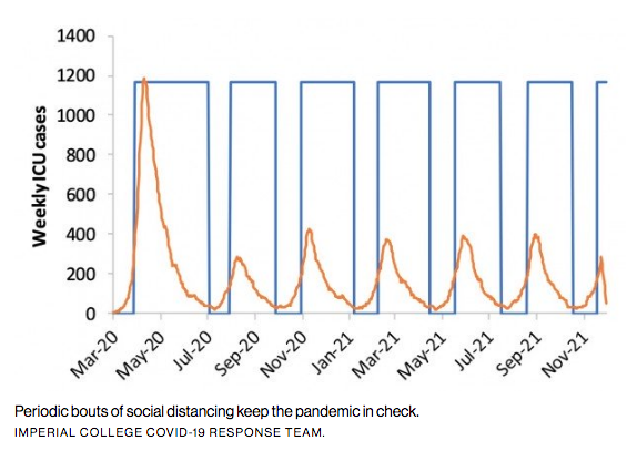 Periodic bouts of social distancing keep the pandemic in check. IMPERIAL COLLEGE COVID-19 RESPONSE TEAM.