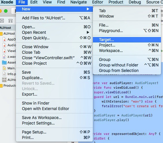 How to Create an Audio Unit Extension from Scratch in XCode