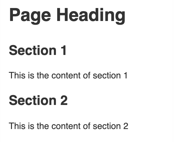 Section elements in a web page