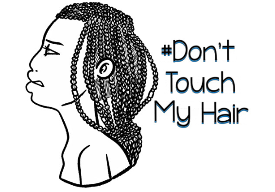 a drawing by la femme of a black woman with corn row braids with the hashtag don't touch my hair