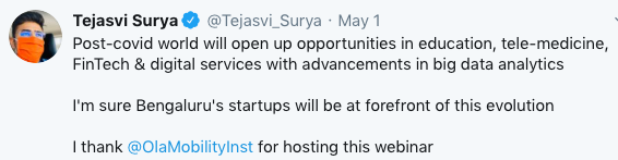 Tejasvi Surya's tweet thanking OMI for hosting the discussion on the role of Gig Economy in a post COVID world