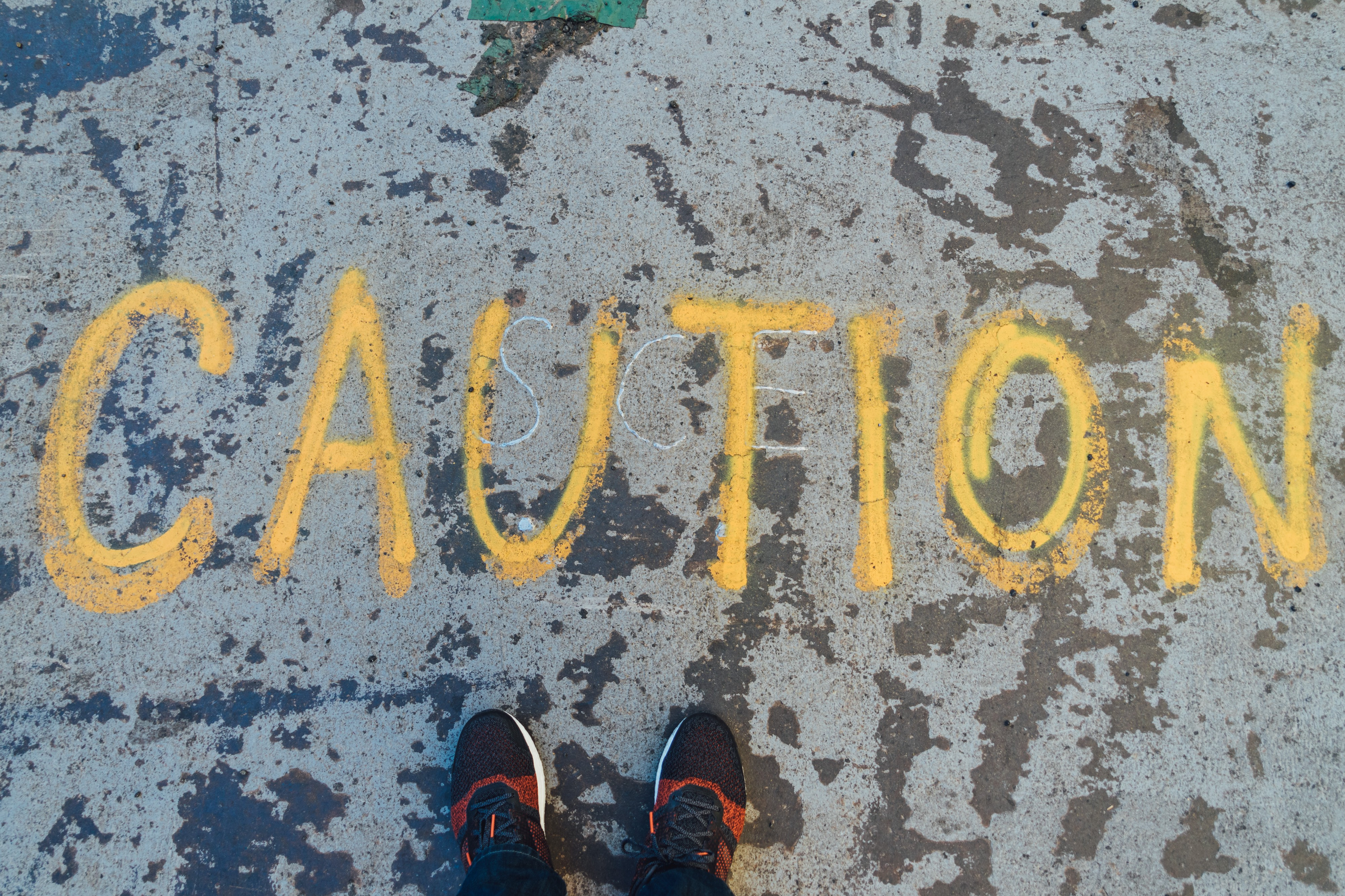 CAUTION written in paint