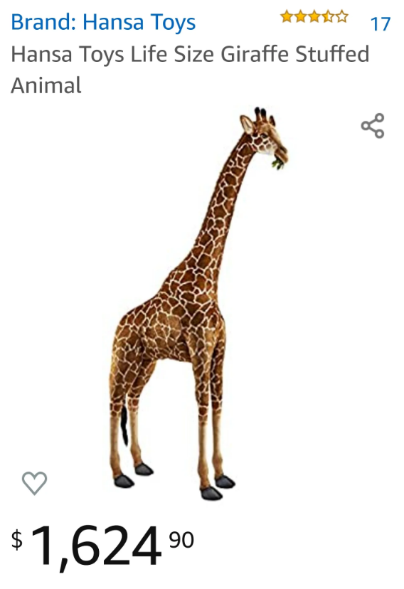 Life sized giraffe being sold for over a thousand dollars on Amazon