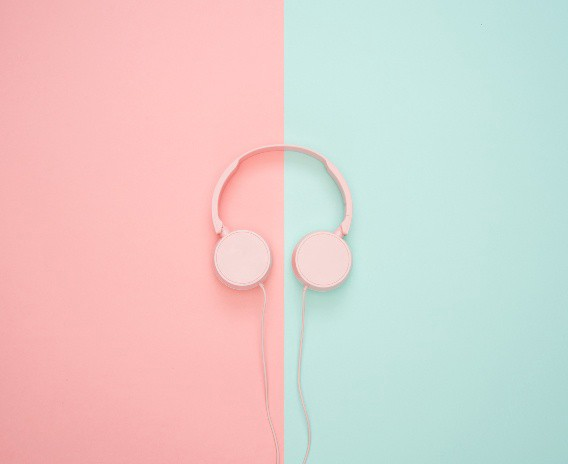headphones pink on one side and green on the other