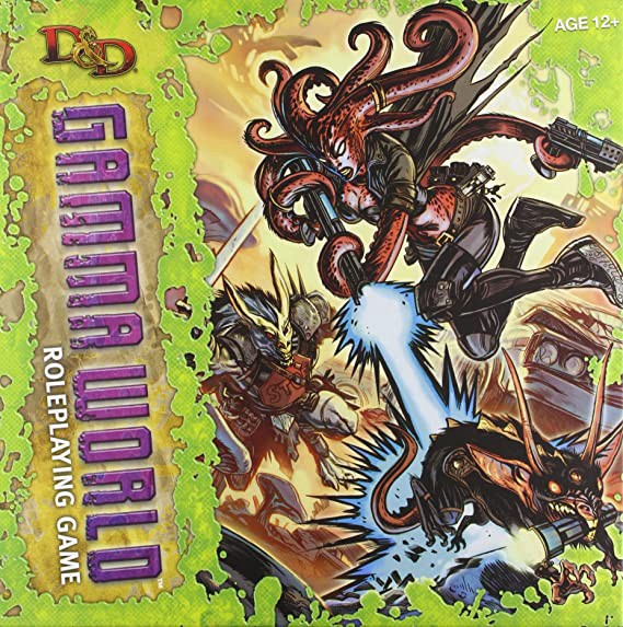 The box art for D&D Gamma World. Features a red-ish octopus woman in black pants, boots, and jacket. He holds a pistol in one tentacle while using two more to fire an energy weapon at a three-eyed rat-like creature. Her back-up is a muscular rabbit-man with a sword and armor made of street signs. They appear to be fighting in a junk yard.