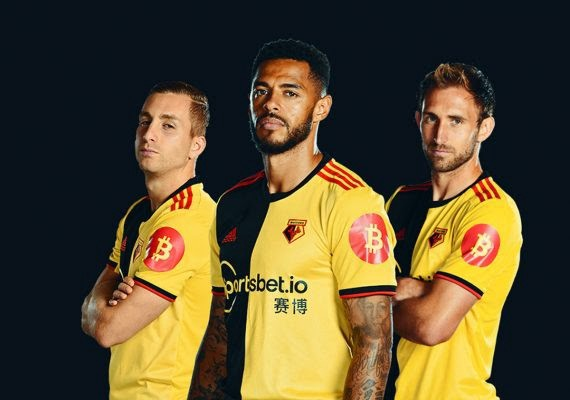 EFL Watford Football Club with bitcoin logo printed on the sleeves. Photo: SuperCryptoNews