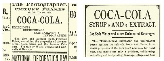 Early 1886 Coka-Cola Soda Fountain beverage Newspaper advertisement using very simple serif font.