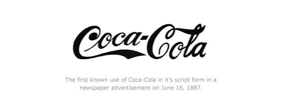First known use of Coca-Cola in its script form in a newspaper advertisement on June 16, 1887