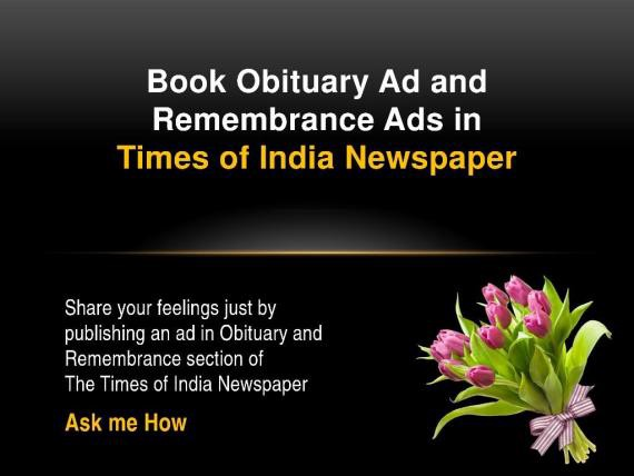 The Times of India Obituary Classified Display Advertisement