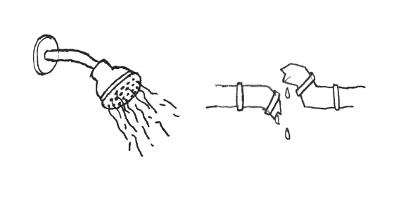 An illustration of a shower head and a broken pipe side by side