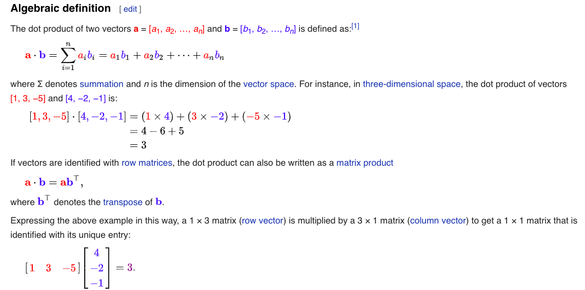 Understand Dot Products Matrix Multiplications Usage in Deep