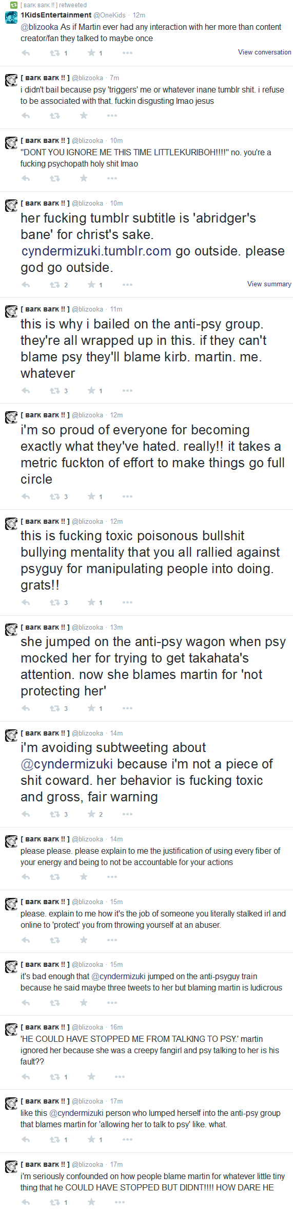 Archives of @blizooka and @superwavebeam's Abuse Towards Me