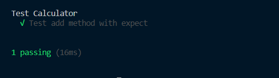 Test result, generated by Mocha on console