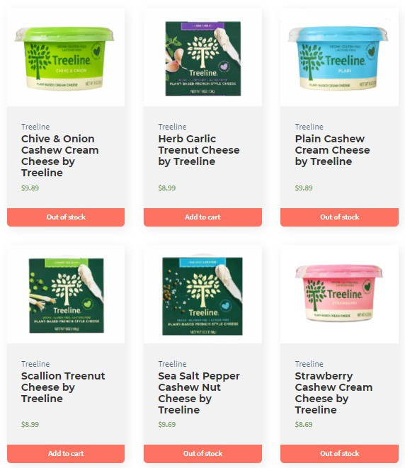 A product page with 6 cards of dairy-free cheeses' product details.