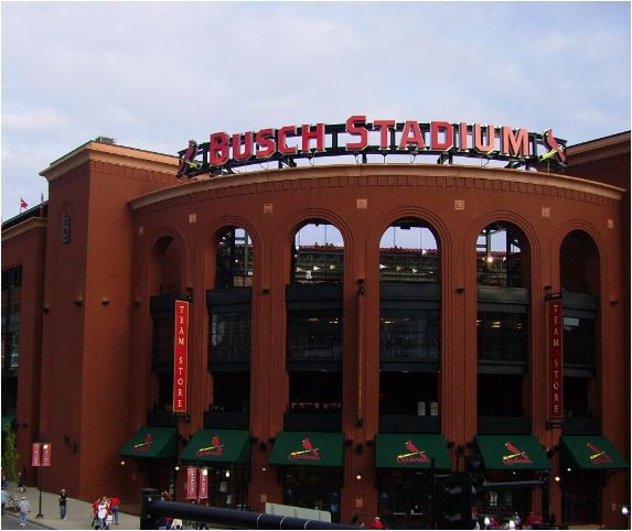 A view from the outside of Busch Stadium in St. Louis, Missouri