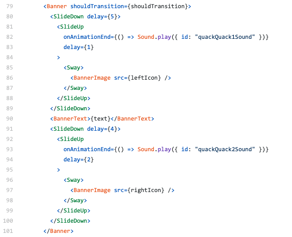 A screenshot of React.js JSX code showing how we compose animations together.
