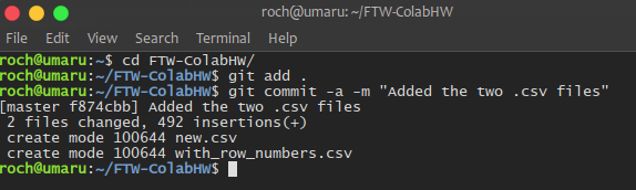A screenshot of the terminal showing the git commit command.