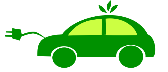 Green electric vehicle with a plug