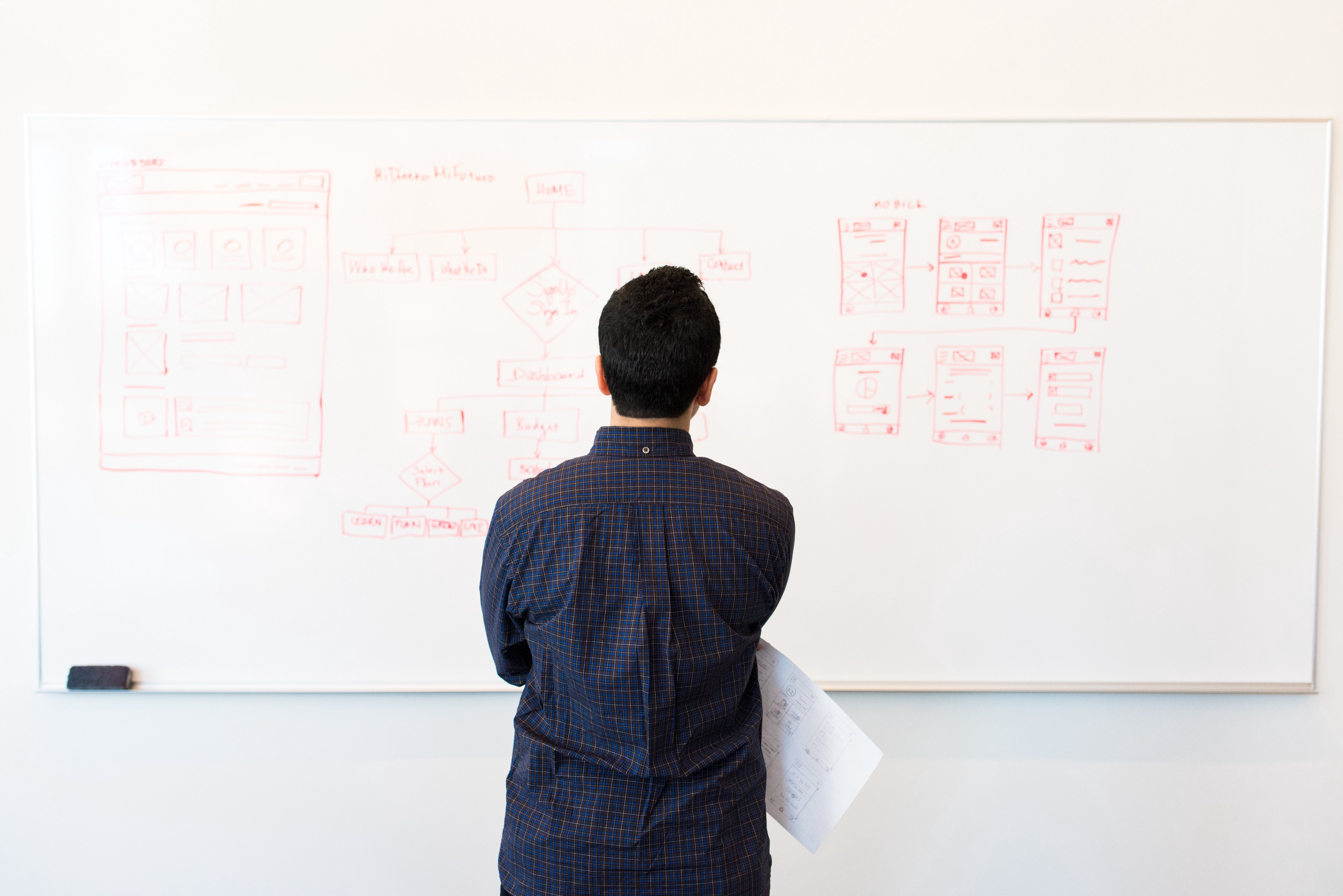 Person standing in front of a whiteboard with their back to the viewer.