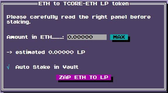 Just deposit Ethereum, and out comes $TCORE LP!