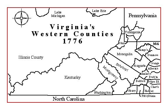 A picture of the western counties of Virginia in 1776, including the county of Kentucky (corresponding to the modern state).