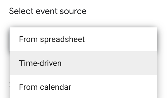 Screenshot showing the select event source options.