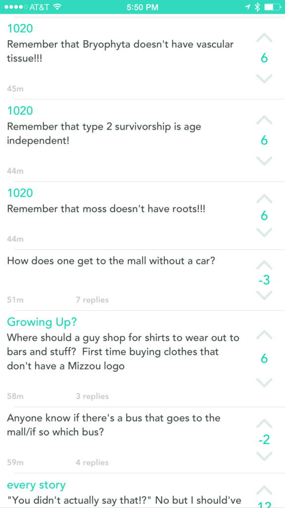 Students using Yik Yak for anonymous brain dumps of test