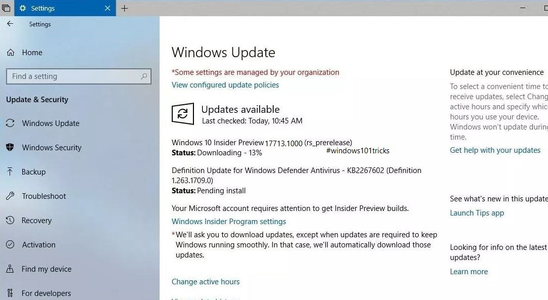 windows defender update pending install