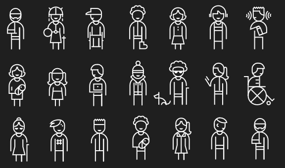 A black and white image of illustrated characters that represent the uniqueness of each individual.